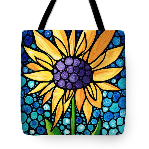 Standing Tall - Sunflower Art By Sharon Cummings Tote Bag by Sharon Cummings