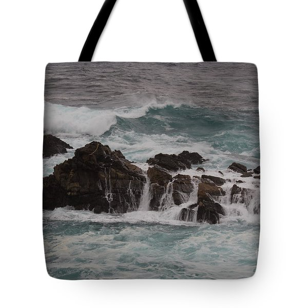 Standing Up To The Waves Tote Bag by Suzanne Luft