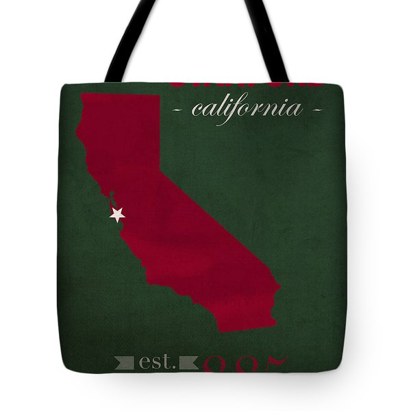 Stanford University Cardinal Stanford California College Town State Map Poster Series No 100 Tote Bag by Design Turnpike