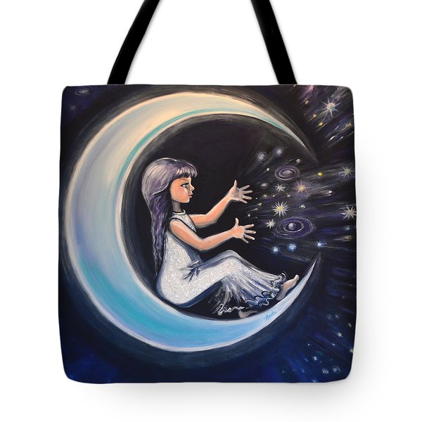Tote Bag featuring the painting Celestial Games by Agata Lindquist