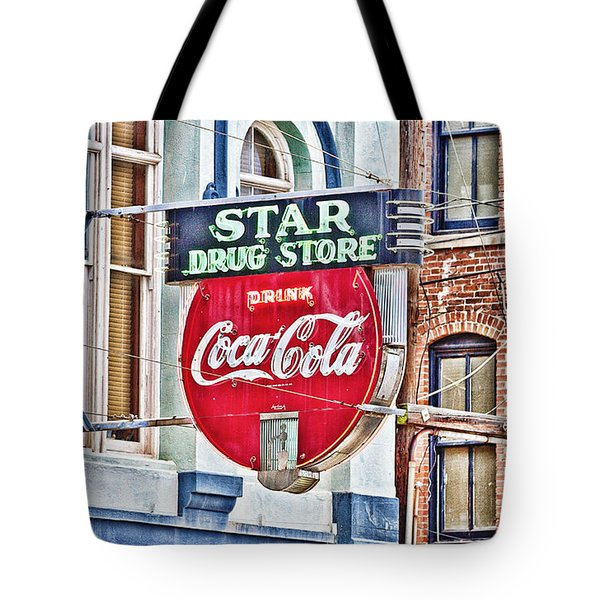 Star Drug Store - Hdr Neon Sign Tote Bag by Scott Pellegrin