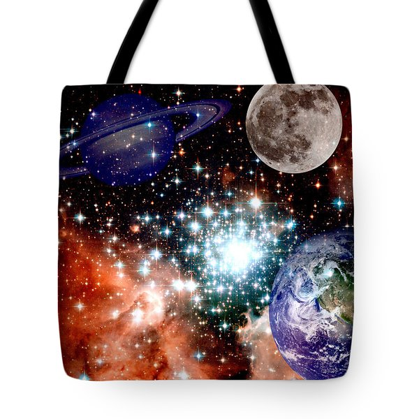 Star Field With Planets Tote Bag