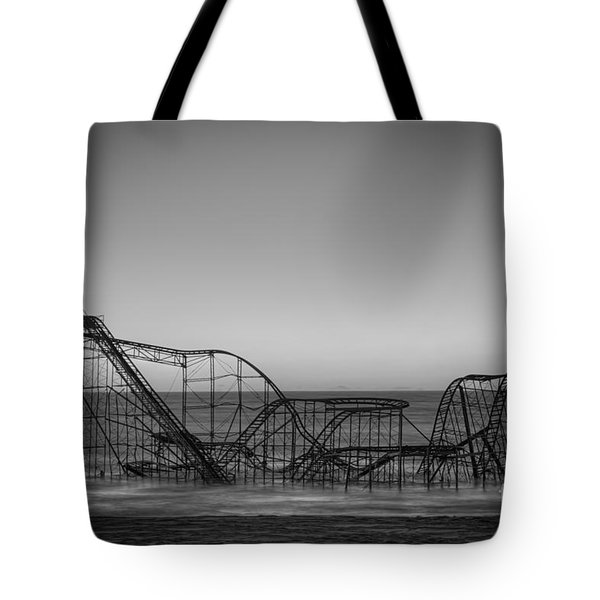Star Jet Roller Coaster Bw Tote Bag by Michael Ver Sprill