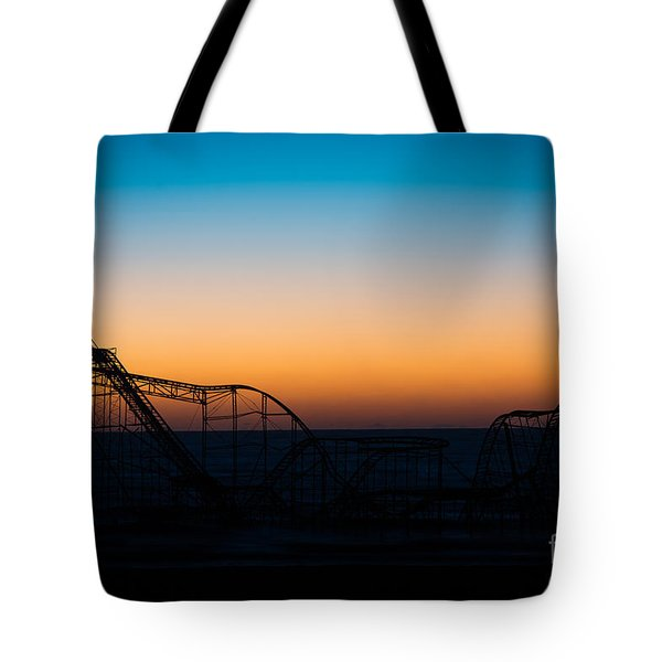 Star Jet Roller Coaster Silhouette  Tote Bag by Michael Ver Sprill