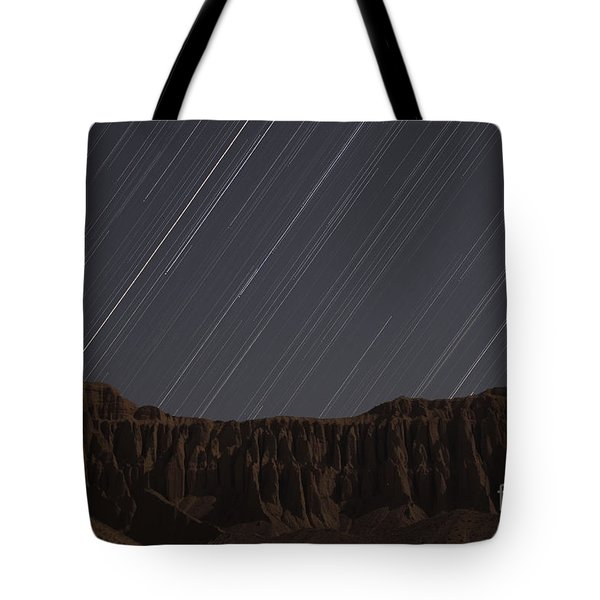 Star Trails Above Martians Valley Tote Bag by Amin Jamshidi