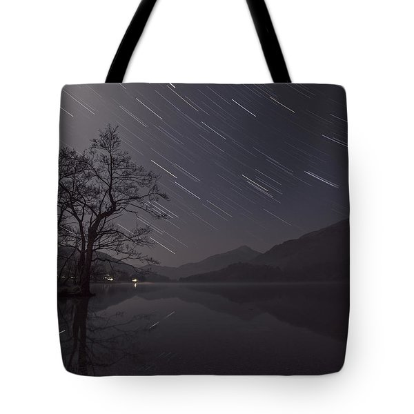 Star Trails Over Lake Tote Bag