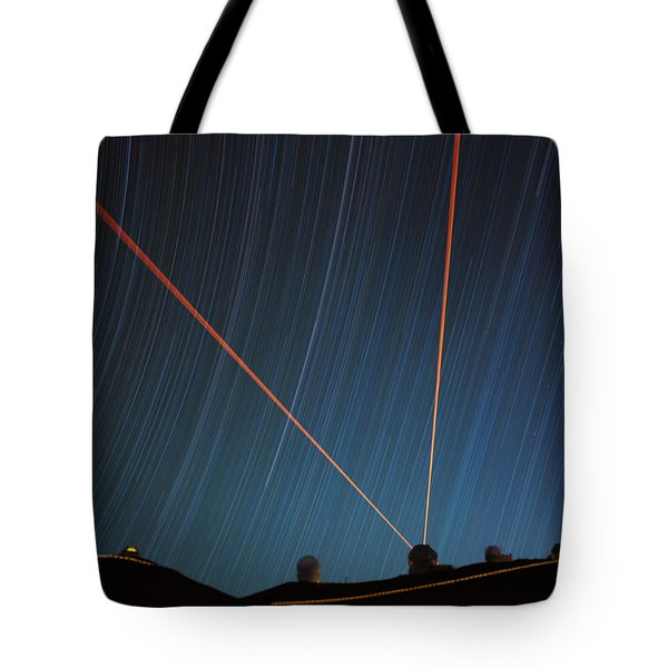 Star Trails Over Mauna Kea Observatory Tote Bag