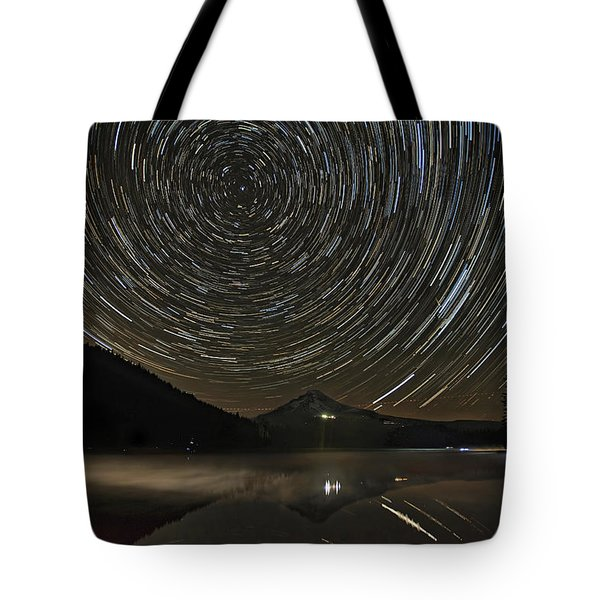 Star Trails Over Mount Hood At Trillium Lake Tote Bag