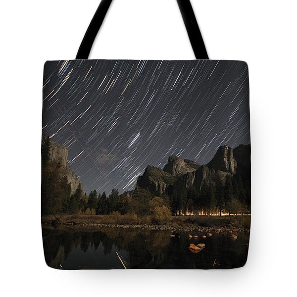 Star Trails Over Yosemite Tote Bag