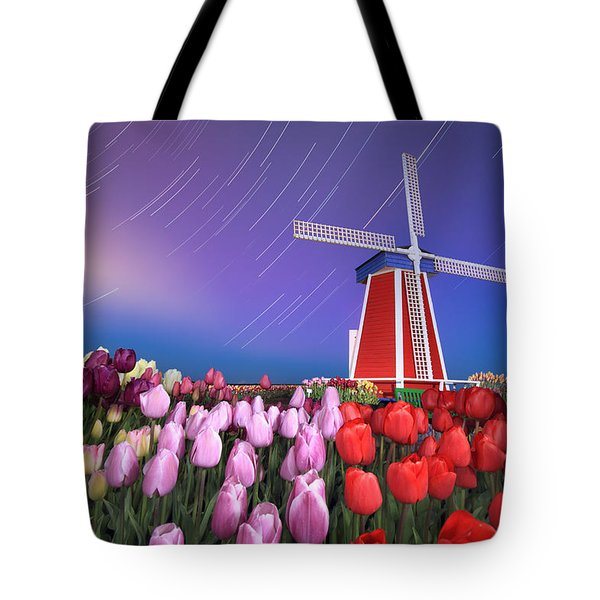 Tote Bag featuring the photograph Star Trails Windmill And Tulips by William Lee