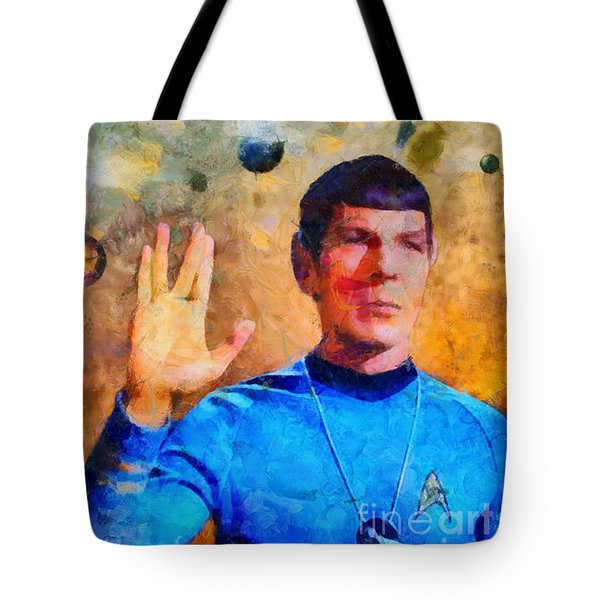 Tote Bag featuring the painting Star Trek-leonard Nimoy by Elizabeth Coats