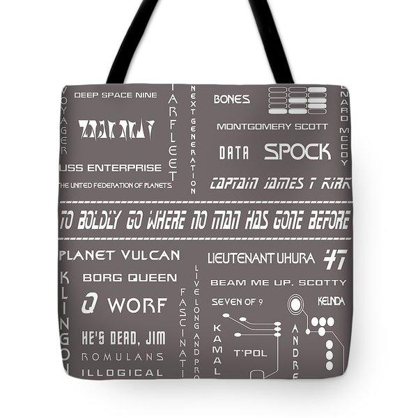 Star Trek Remembered In Grey Tote Bag by Georgia Fowler