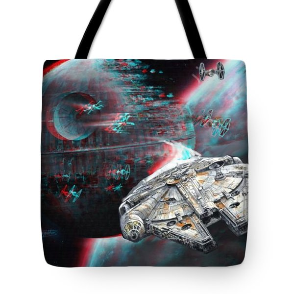Star Wars 3d Millennium Falcon Tote Bag by Paul Van Scott