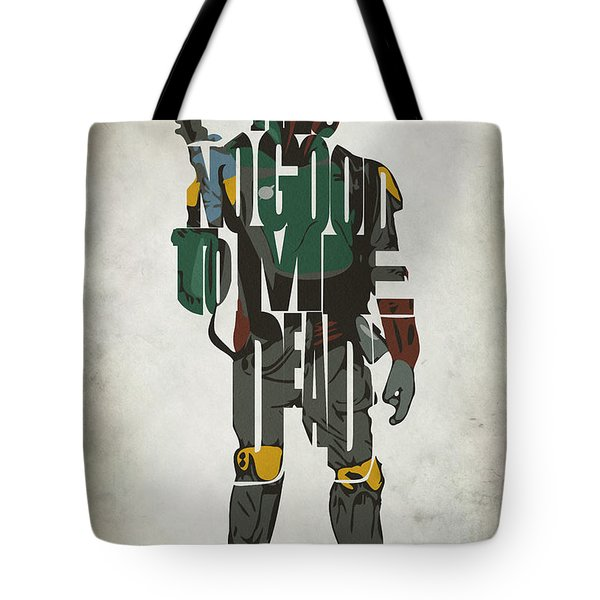 Star Wars Inspired Boba Fett Typography Artwork Tote Bag