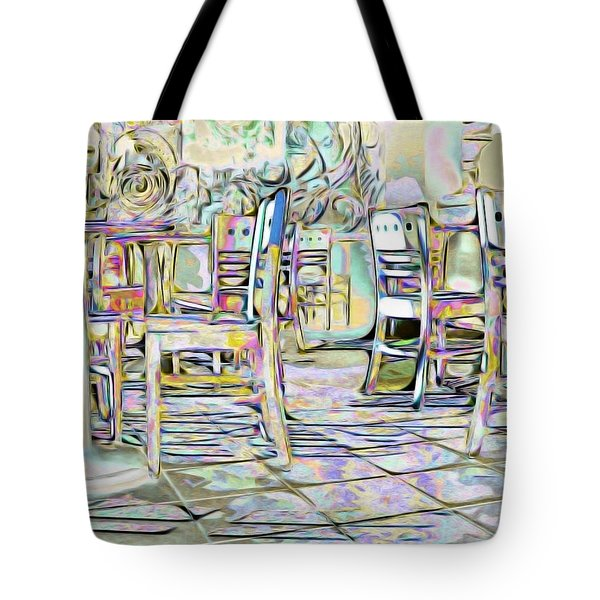 Tote Bag featuring the digital art Starbucks After Hours by Mark Greenberg