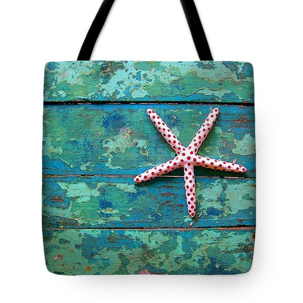 Seashore Peeling Paint - Starfish And Turquoise Tote Bag