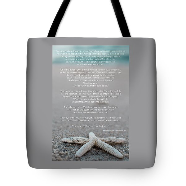 Starfish Make A Difference  Tote Bag