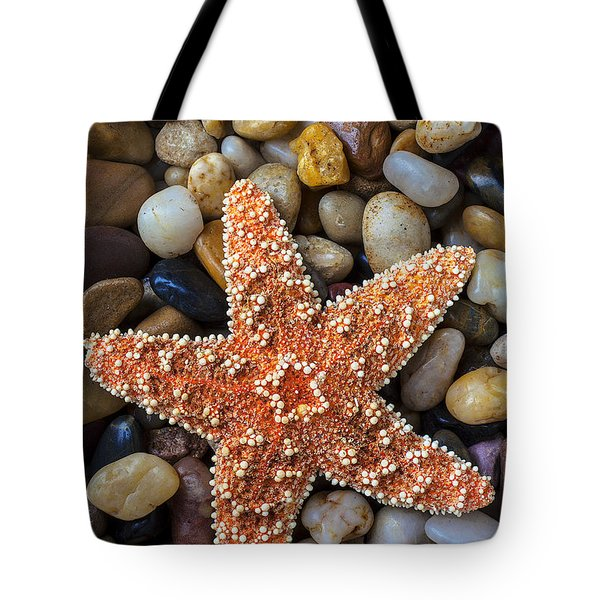 Starfish On Rocks Tote Bag by Garry Gay