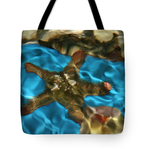 Starfish Under Rippling Water Tote Bag