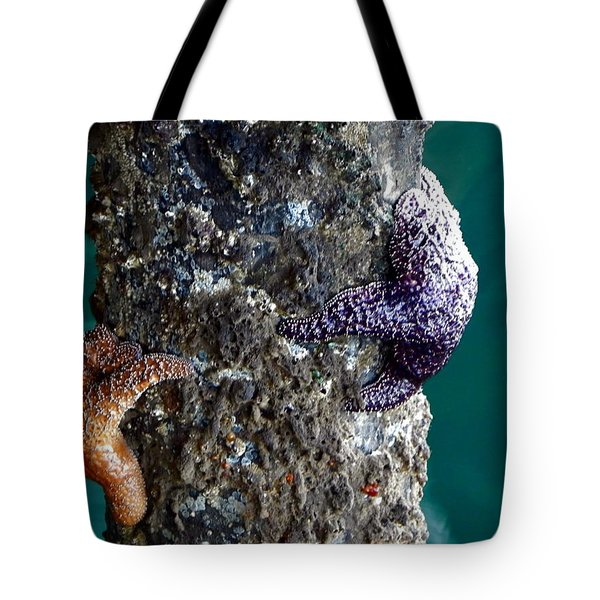 Starfish Under The Pier Tote Bag by Kathy Churchman