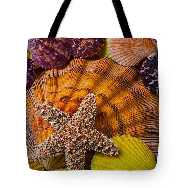 Starfish With Seashells Tote Bag