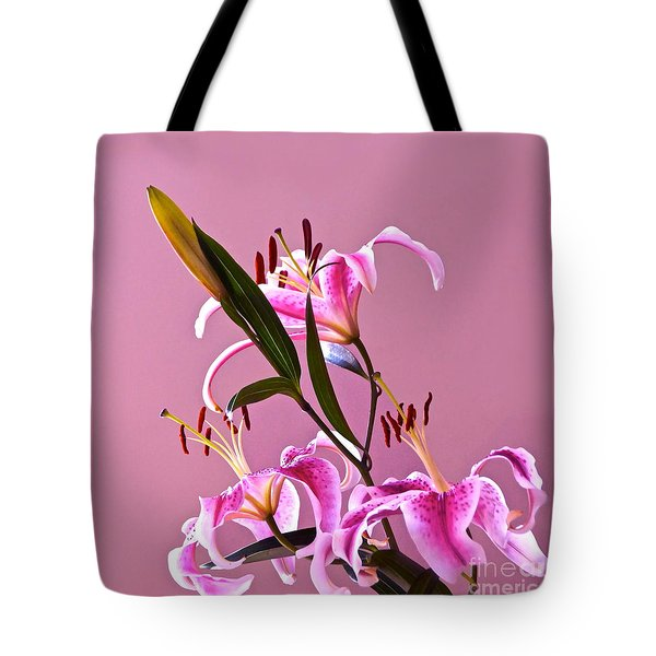 Stargazer Lilies Square Frame Tote Bag by Byron Varvarigos