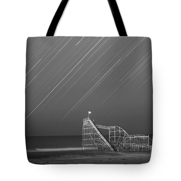 Starjet Roller Coaster Startrails Bw Tote Bag by Michael Ver Sprill