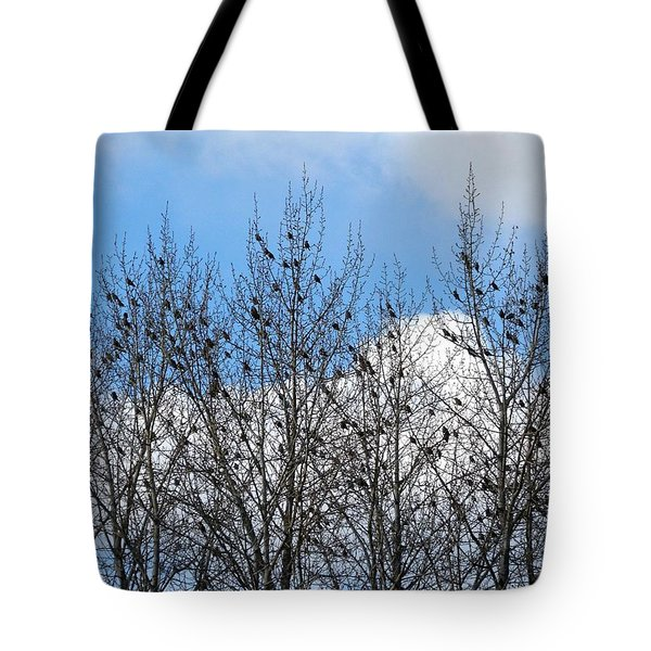 Starlings In The Cottonwoods Tote Bag by Will Borden