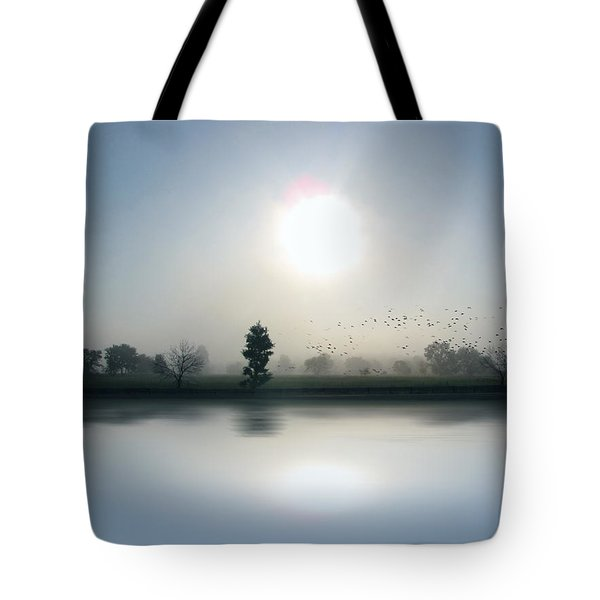 Starlings Misty Morning Tote Bag by Cedric Hampton