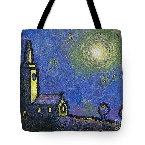 Starry Church Tote Bag by Pixel Chimp