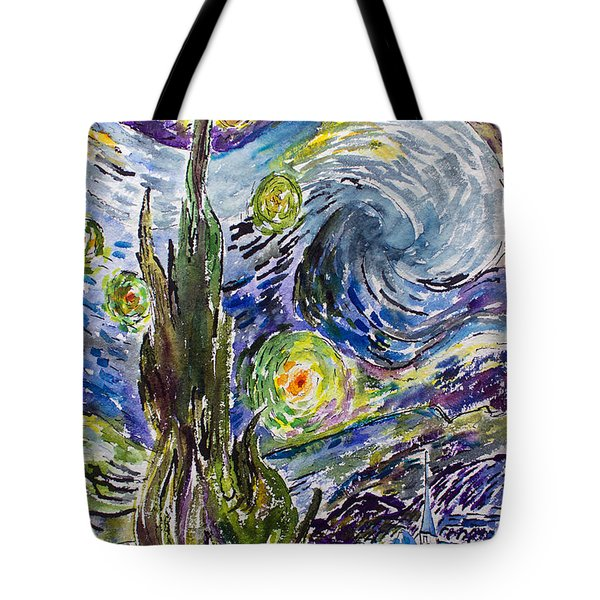 Tote Bag featuring the painting Starry Night After Vincent Van Gogh by Ginette Callaway