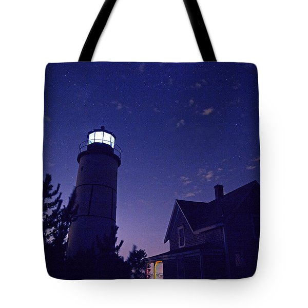 Starry Night At Sandy Neck Lighthouse Tote Bag by Charles Harden