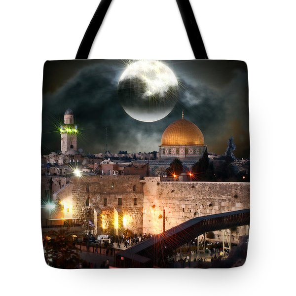 Starry Night At The Dome Of The Rock Tote Bag by Doc Braham