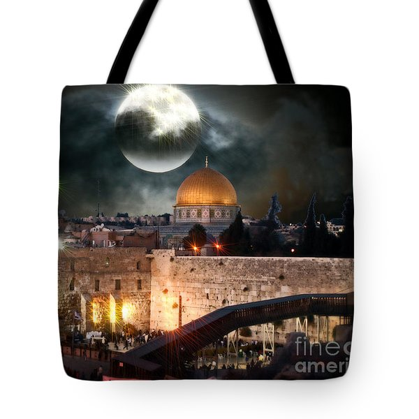 Full Moon At The Dome Of The Rock Tote Bag