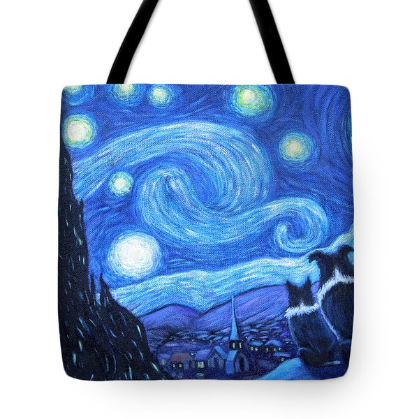 Starry Night Border Collies Tote Bag