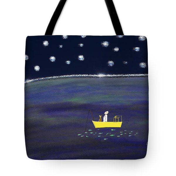 Tote Bag featuring the digital art Starry Night Fishing by Haleh Mahbod