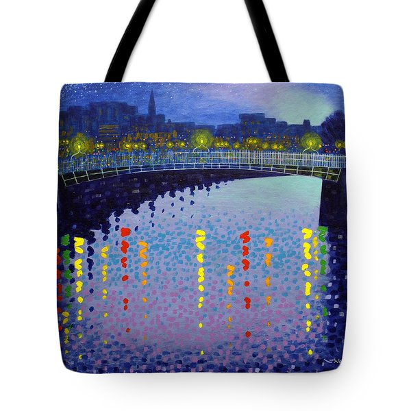 Starry Night In Dublin Half Penny Bridge Tote Bag by John  Nolan
