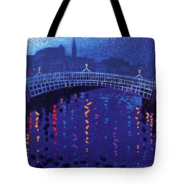 Starry Night In Dublin Tote Bag by John  Nolan