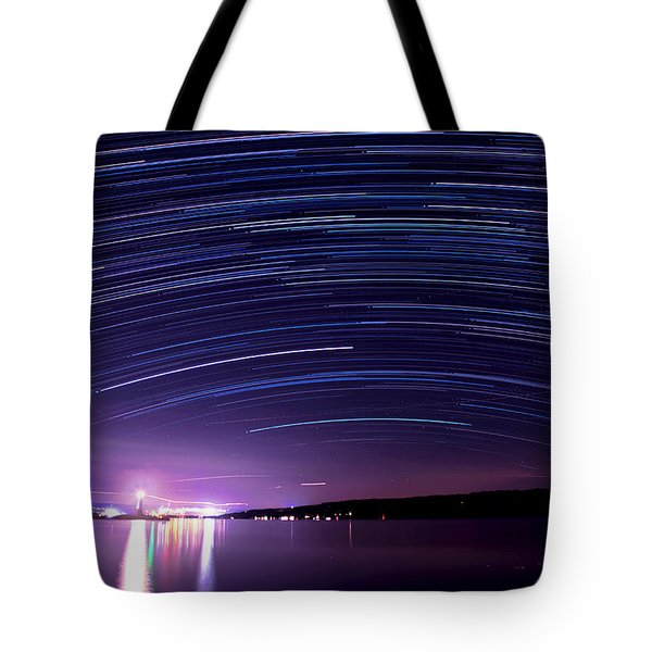 Starry Night On Cayuga Lake Tote Bag by Paul Ge