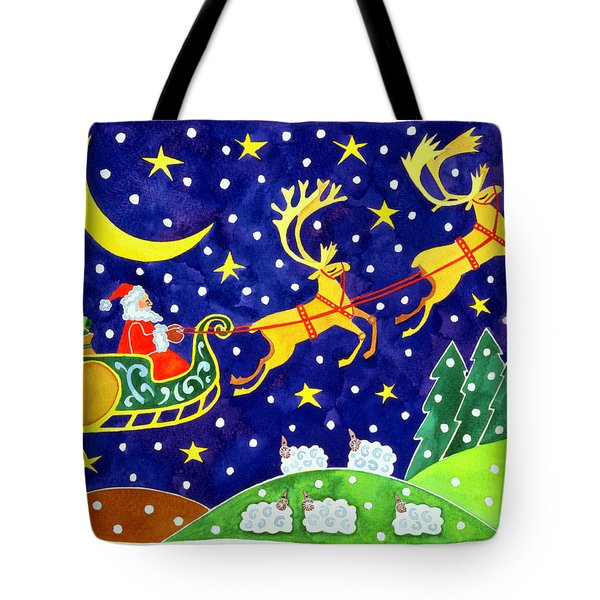 Stars And Snowfall Tote Bag by Cathy Baxter