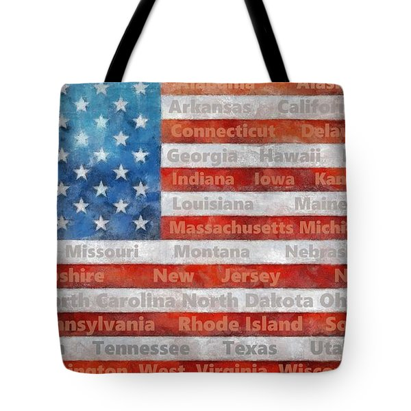 Stars And Stripes With States Tote Bag