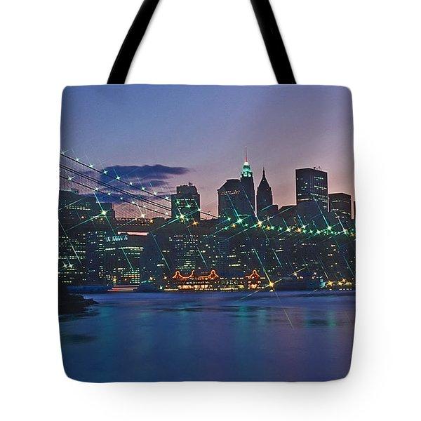Stars Brooklyn Bridge Tote Bag by Bruce Bain