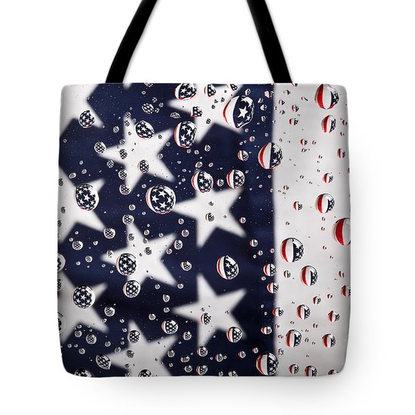 Stars Stripes And Water Drops Tote Bag by Sharon Dominick