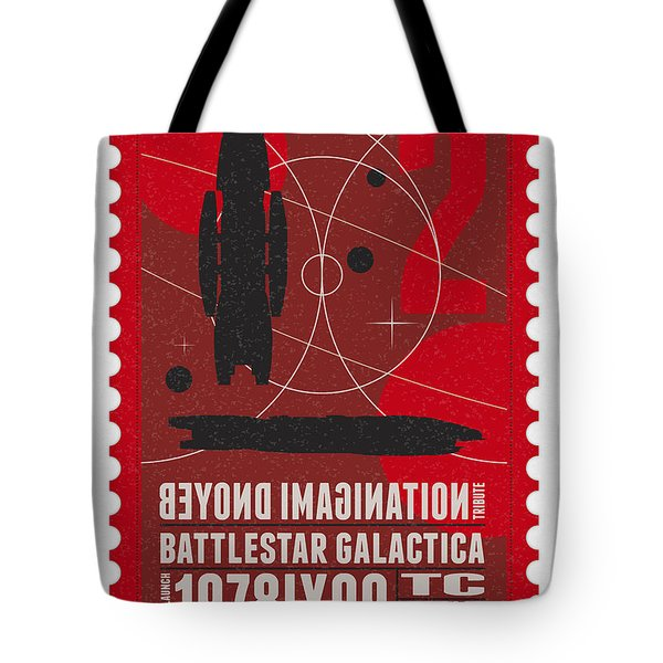 Starschips 02-poststamp - Battlestar Galactica Tote Bag by Chungkong Art