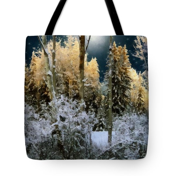 Starshine On A Snowy Wood Tote Bag by RC deWinter
