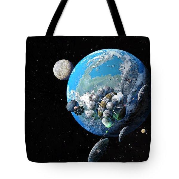 Starship At Alpha Centauri Tote Bag by Don Dixon