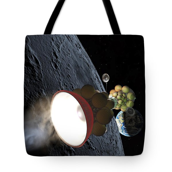 Starship Departing From Lunar Orbit Tote Bag by Don Dixon