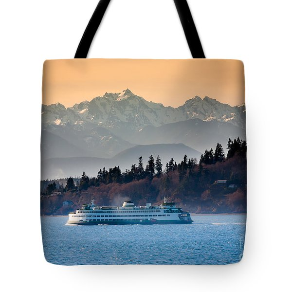 State Ferry And The Olympics Tote Bag