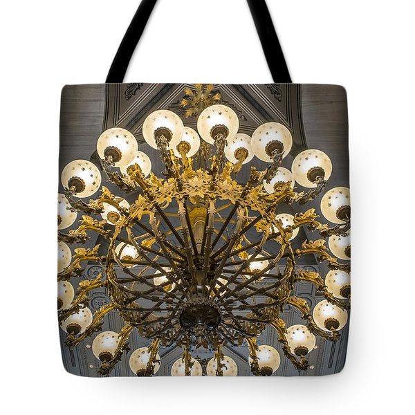 Tote Bag featuring the photograph State House Lighting by Glenn DiPaola