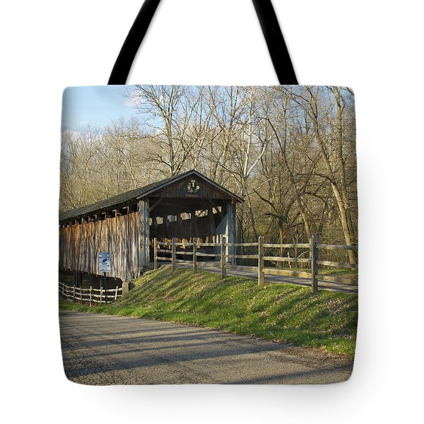 State Line Or Bebb Park Covered Bridge Tote Bag by Jack R Perry